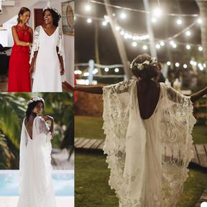 African A Line Wedding Dresses with Lace Wrap Elegant Satin Wedding Gowns V Neck Backless Country vestidos de novia