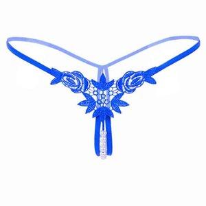 진주 에로틱 속옷 섹시한 Tangas 섹시한 G 끈으로 여성 란제리 가죽 끈 꽃 Crotchless 열기 란제리 투명 팬티 Drop0 Ihsu
