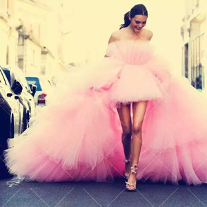 2020 Mode Rose hiérarchisé Haut Bas Tutu robes de bal de l'épaule Puffy longue Prom Robes Chic Tulle Robes Vestido Formatura