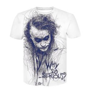 هالوين القمم زائد الحجم 4XL كول جوكر T قميص الصيف لماذا خطيرة جدا الرجال المتناثرة التي شيرت الرقبة الطاقم المحملة القميص عادية أوم