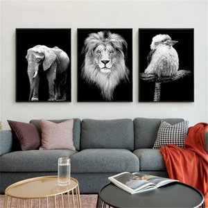 4YANG preto-e-branco Animal Oil Painting Wall Art Posters Prints Canvas Pictures Sala Quarto Início Cuadros Decor