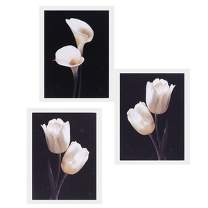 3 Panels Floral Pattern Canvas Oil Painting Wall Art Poster Artwork Unframed for Bedroom Living Room Wall Hanging Decor