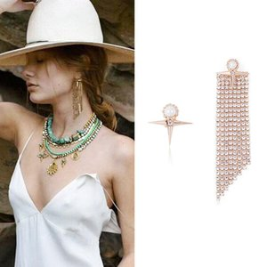 Exaggerated personality hipster geometric earrings Simple long cross asymmetric claw chain pearl jewelry