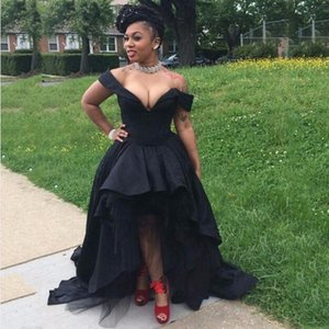2020 High Low Prom Dresses Sexy Off The Shoulder Black Evening Dress Special Occasion Dresses Robe De Soiree Long Party Gowns