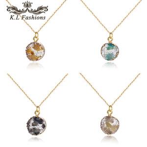 Ronda Gargantilla Druzy Resina colgante de piedra nueva llegada para las mujeres forman el collar de cadena de oro Adjustbale joyas de moda de regalos 2020