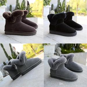 mais novo de neve botas de Inverno de couro real das mulheres Austrália clássico Ankle boots pele Preto Grey Brown mulheres sapatos de menina calçados casuais FRETE GRÁTIS