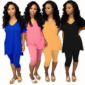 Vêtements pour femmes tenues à manches courtes 2 pièces ensemble été femmes vêtements vêtements de mode pull + longueur au genou pantalon costumes klw1705