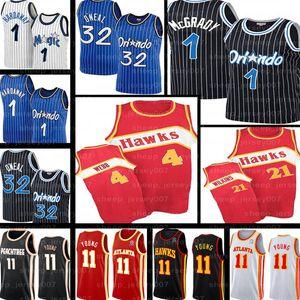 Retro Tracy Penny Hardaway 1 McGrady Shaquille O'Neal 32 Trae 11 Jovem Jonathan 1 Isaac AtlantaFalcão Basketball Jerseys