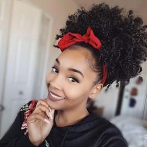 Синтетические вьющиеся волосы хвост афроамериканец короткие афро кудрявый вьющиеся обернуть синтетический шнурок слоеного конский хвост наращивание волос