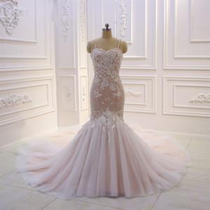 100% реальные фотографии ELEAGNT кружева русалка свадебные платья роскошный открытый обратно Blush Pink Beach Boho Bridal платье плюс размер