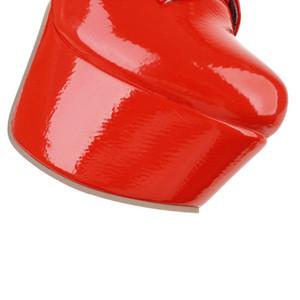 Плюс размер 48 Женщины высокого колена сапоги Sexy Высокие каблуки платформы Зимние сапоги Шнуровка Красный Черный Белый Женщины Высокие сапоги фетиш обувь