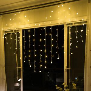 LED Love Heart Lámpara colorida Festival Cortinas de ventana Icicle Decoración Luces String Room Luces de flash de alambre de cobre 22xc L1