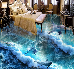 Custom 3D Floor Mural WallpaperDolphin Ocean 3D Floor Tiles Baño 3D Floor Mural PVC Impermeable Autoadhesivo Vinyl Wallpaper Home Decor