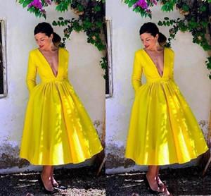 2020 Deep V-neck Short A-line Prom Dresses Long Sleeves Tea Length Formal Dress Evening Party Gowns