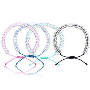 New 12 PCS Handmade Clear Round Beads Rope Vsco Girl Friendship Bracelet Colorful Boho Lucky Adjustable Bracelets Jewelry for Girls Women