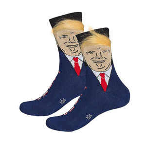 President Donald Trump Unisex Socks with 3D Fake Hair Funny Print Adults Middle Long Stockings Men Women Crew Socks Creative Gift 4 Colors
