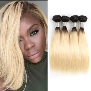 1В 613 Ombre Blonde Human Пучки волос Короткие Боб Стиль 10-12 дюймов 50г / пучок волос девственницы бразильский Remy человеческих волос