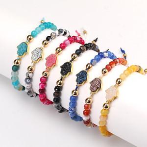 Resina Hamsa Mão Charm Bracelet Natural Pedra seis milímetros Ágata Bead pulseiras com cartão Handmade Woven Rope Cadeia Bangle por Mulheres Jóias