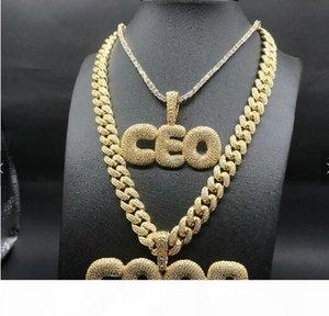 A-Z 26 حروف كبيرة قلادة مخصصة مجوهرات الجليد اسم سلسلة فقاعة drip letter pendant hip hop مجوهرات