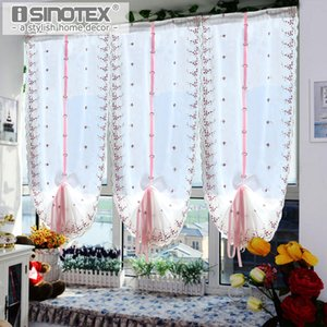 Roman Tulle Curtains Pastoral Red Floral Voile For the Kitchen Window Curtains Living Room Bedroom Tulle 1PCS Lot