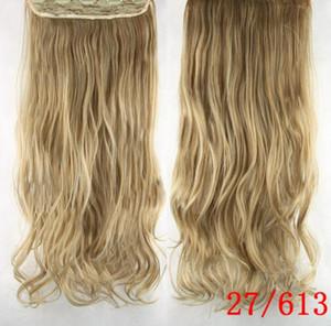 Trame dei capelli prodotti ad alta temperatura seta Curling Cortina clip sintetica di estensioni dei capelli ricci della clip del bigodino di capelli