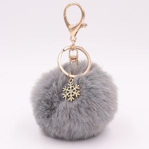 cute keychain Snowflake Fur Ball Key Chain Pendant Plush Doll Kids Toy Girl Bag Phone Ornaments Decor Party Favors Birthday Xmas Gift
