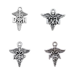 50PCS Wings Snake PA&NP&LVN&DH Profession Medical Assistant Sign Pendant Accessories For Bracelet&Necklace DIY Handmade