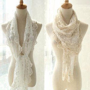 New Spring Winter Fashion Accessories Lace Scarf White Or Beige Color Soft and Comfortable Shawls 2 Color For Women Ladies