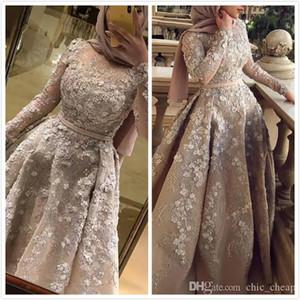 2020 Aso Ebi Árabe Luxurious Sexy muçulmana Vestidos Lace frisada Prom Vestidos mangas compridas formal do partido Segundo Recepção Vestidos Vestidos