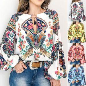 Mujeres camiseta de la manera del estilo bohemio de la blusa de la linterna del o-cuello camisas Tops causal suelta blusas suéter femenino Blusas tema S-3XL