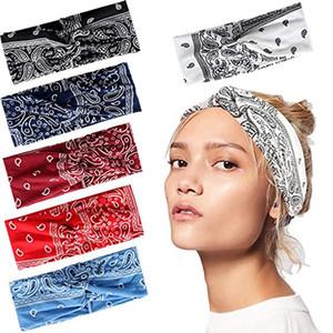 Boho Bandeaux pour les femmes élastique imprimé floral Paisley Bandanas noeud Turban headwraps Yoga Courir Sport Twisted Hairband Accessoires cheveux