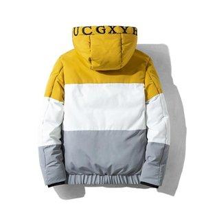 Feitong amarillo de la manera Parka Hombres 2019 Otoño Invierno con capucha remiendo chaqueta caliente poco voluminoso Luz Tops capa exterior gruesa