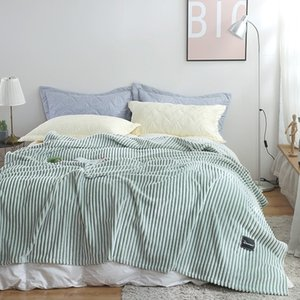 Green Stripe Blanket Soft Warm Coral Fleece Blanket Bed Sofa Plane Travel Winter High Quality Throw Sleeping
