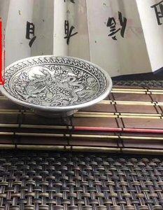 Античная Античная Разное Коллекция Pure Copper Copper White Silver Plated Рельефный Медный дракон Phoenix Plate Wash
