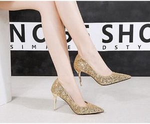 High Qualtiy High Heels Womens Shoes Eleganti scarpe da sposa Fashion Lady Confortevole e Paillettes Party Shoes