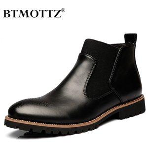 2020 cuero auténtico cargadores del tobillo de los hombres trabajan invierno zapatos clásicos Vintage Hombre Casual motocicleta botas de vaquero Botas BTMOTTZ