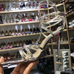 Envío libre foto real Luxura manera del cuero genuino de las mujeres del cuero de patente de plata del entrecruzamiento de tobillo de tiras de tacones altos zapatos de las sandalias 10cm