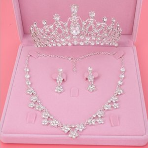 Womens Crystal Pearl Jewelry Hair Crown Headpiece Necklace Pendant Earrings Sets
