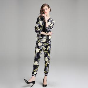 2019 ربيع الموضة طباعة بدلة رياضية الإناث الخريف بدلة جديدة الإناث البيسبول موحدة بدلة عادية