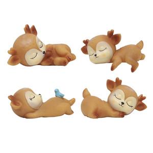 4PCS Entzückende Schlafen Deer Figuren Miniatur Tier Ornamente Spielzeug Kitz-Dekor