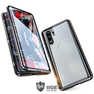 Estuches para teléfono para Huawei P40 Pro Mate 30 P20 OnePlus 8 Vidrio dual Adsorción magnética Metal Cubierta Cubierta Cubierta Caja de Cubierta de Aluminio Marco Noeso