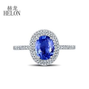 HELON fest 18K Weißgold AU750 Certified Oval 1.1ct natürliche Saphir-Diamant-Verlobungsring Frauen Hochzeit Edelstein-Schmuck