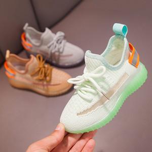 Светящиеся кроссовки Детская обувь для девочек водить кроссовки с мальчиками Мода Освещенные Mesh Печать детей Повседневная спортивная обувь