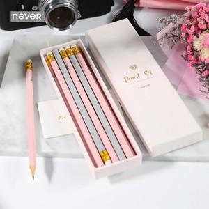 Никогда розовый 12 шт / Lot Pencil Set Wood Standard HB Macaron Карандаши для рисования Подарочная упаковка канцтоваров Школьные принадлежности