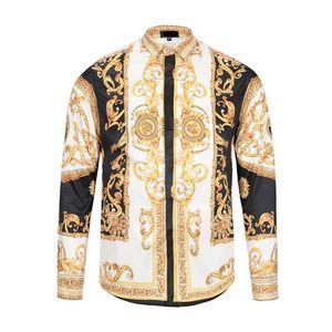 Camisa de manga larga clásica al por mayor de Medusa de la fábrica Cartas Perfecta Estampado floral Color Lujo Casual Harajuku Hombres Cabeza estilo Medusa Camisa