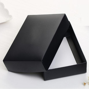 Qi 18 * 12 * 4 cm de papel grande blanca de la cubierta Negro caja de embalaje para la ropa joyería Wallet peluca regalo del lazo de embalaje de cartón de embalaje de papel 20pcs