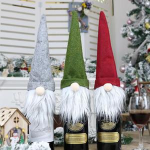 3 أنماط عيد الميلاد مجهولي الهوية دمية زجاجة النبيذ حالة الشمال أرض الله بابا نويل الشمبانيا النبيذ غطاء زجاجة السنة الجديدة الديكور XD22800