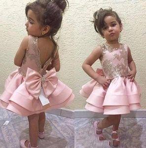 Blsh rose robes de fille de fleur pour les mariages pas cher rez-de-chaussée longueur Cap manches dentelle Tulle blanc robe de première communion petits enfants robes d'anniversaire