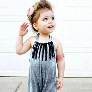 2-7Y Summer Baby Girls Romper Toddler Girls Clothes Soft Velvet Rompers Sleeveless Sling Tassel Jumpsuit