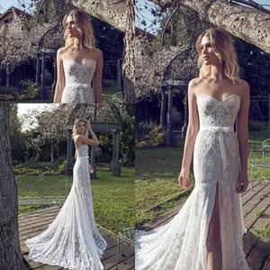 Limor Rosen Mermaid Wedding Dresses Sweetheart Lace Appliques Front Split Bridal Gowns Sweep Train Beach Wedding Dress